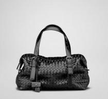 BV 1048-1 奢华明星最爱經典款 黑色羊皮手工编织包