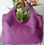 BV 899-4 奢华明星最爱經典款 羊皮手工编织包 玫紫