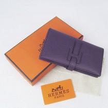 HERMES 愛馬仕全牛皮女士錢包真皮皮夾荔枝紋 紫色