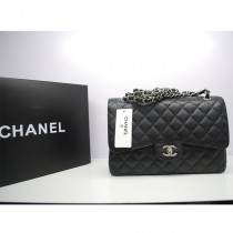 CHANEL36097-8 新款黑色進口魚子酱原版皮 女士單肩斜挎包   銀鏈