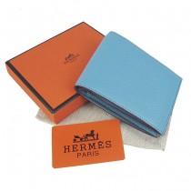 HERMES 愛馬仕全牛皮女士錢包真皮皮夾荔枝紋 淺藍色