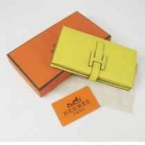 HERMES 愛馬仕全牛皮女士錢包真皮皮夾荔枝紋 檸檬黃色