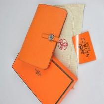 HERMES 愛馬仕全牛皮女士錢包真皮皮夾 十字紋 橙色