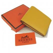 HERMES 愛馬仕全牛皮女士錢包真皮皮夾荔枝紋 黃色