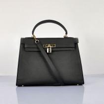 Hermes-6108-4-愛馬仕手提包斜背包 黑色(手掌纹金)