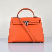 Hermes-6108-3-愛馬仕手提包斜背包 橙色(手掌纹銀)