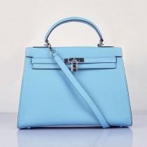 Hermes-6108-18 愛馬仕手提包斜背包 浅蓝色(手掌纹银