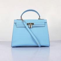 Hermes-6108-17 愛馬仕手提包斜背包 浅蓝色(手掌纹金