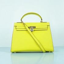 Hermes-6108-6-愛馬仕手提包斜背包 黄色(手掌纹金)
