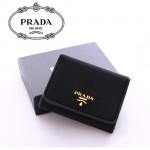 PRADA  1M0176-7 尼龍配牛皮錢包三摺短款錢夾 黃銅色Logo