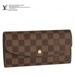專櫃新款EMILIE翻蓋按釦棕色棋盤格女士長款錢夾  N63019
