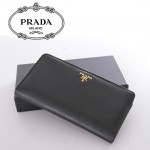 1M1316-2 PRADA 專櫃最新款韓版熱銷十字紋牛皮拉鏈錢包
