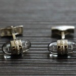 萬寶龍MONTBLANC 1374-1 銀色水晶鉆經典袖扣