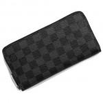 LV N62668 潮流新款男女款時尚黑格長款拉鏈錢包