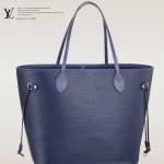 LV M40885 專櫃最新款水波紋原版牛皮寶藍色購物袋
