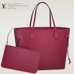 LV M40882 專櫃最新款水波紋原版牛皮玫紅購物袋