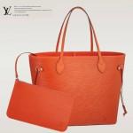 LV M40884 專櫃最新款水波紋原版牛皮橙色購物袋