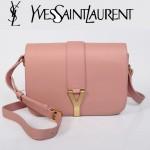 YSL聖羅蘭 66012 Y扣多層單肩斜挎女包包牡丹粉