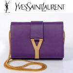 YSL聖羅蘭 8116-5 金字Y扣鏈條單肩斜挎手拿女包紫色