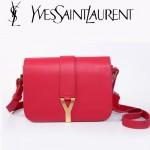 YSL聖羅蘭 66012-1 Y扣多層單肩斜挎女包包玫紅