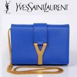 YSL聖羅蘭 8116-4 金字Y扣鏈條單肩斜挎手拿女包藍色