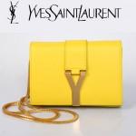 YSL聖羅蘭 8116-3 金字Y扣鏈條單肩斜挎手拿女包黃色