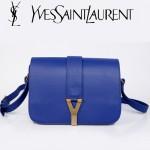 YSL聖羅蘭 66012-6 Y扣多層單肩斜挎女包包藍色