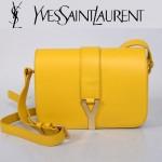 YSL聖羅蘭 66012-7 Y扣多層單肩斜挎女包包黃色