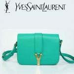 YSL聖羅蘭 66012-5 Y扣多層單肩斜挎女包包綠色