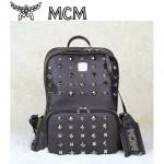限量版MCM  全鉚釘黑色浮雕logo 滿天星背包 男女包 旅行包