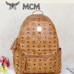 MCM時尚休閑旅遊雙肩包中號 6釘-5鉚釘背包土黃色