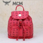 MCM雙肩包 2097-3書包 旅遊背包鉚釘書包玫紅色