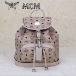 MCM雙肩包 2097-4書包 旅遊背包鉚釘書包米色
