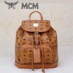 MCM雙肩包 2097-5書包 旅遊背包鉚釘書包土黃色