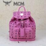 MCM雙肩包 2097-2書包 旅遊背包鉚釘書包粉色