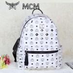 MCM時尚休閑旅遊雙肩包中號 6釘鉚釘背包白色