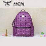 MCM背包 潮流男女休閑旅遊雙肩包中號 31釘-6鉚釘背包紫色
