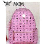 MCM時尚休閑旅遊雙肩包中號 6釘-1鉚釘背包粉色