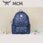 MCM背包 潮流男女休閑旅遊雙肩包中號 31釘-4鉚釘背包深藍色