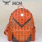 MCM 雙肩包 M字釘-1 男女雙肩背包橙色