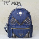MCM 雙肩包 M字釘-3 男女雙肩背包藍色