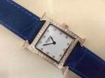 愛馬仕 06方形瑞士石英機芯鑲鉆皮帶女士手表