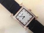 愛馬仕 09方形瑞士石英機芯鑲鉆皮帶女士手表