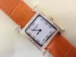 愛馬仕 08方形瑞士石英機芯鑲鉆皮帶女士手表