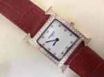 愛馬仕 07方形瑞士石英機芯鑲鉆皮帶女士手表