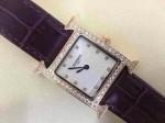 愛馬仕 05方形瑞士石英機芯鑲鉆皮帶女士手表