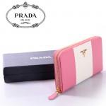 PRADA- 1M0506-24 PRADA拼色十字紋牛皮拉鏈長錢包