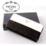 PRADA- 1M0506-17 女款錢包 女士女包牛皮 長款拼色拉鏈手包
