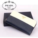 PRADA- 1M0506-19 女款錢包 女士女包牛皮 長款拼色拉鏈手包
