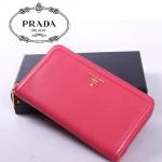 PRADA- 1M0506-22 女款錢包 女士女包牛皮 長款拼色拉鏈手包